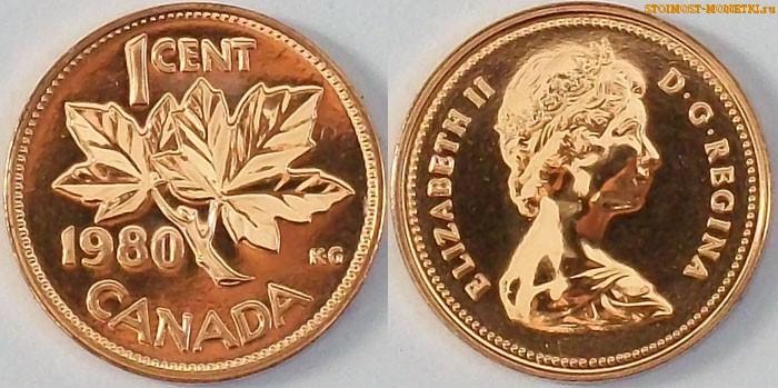 1 цент Канады 1980 года - стоимость / 1 cent Canada 1980 - цена монеты
