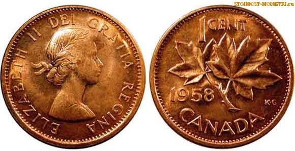 1 цент Канады 1958 года - стоимость / 1 cent Canada 1958 - цена монеты